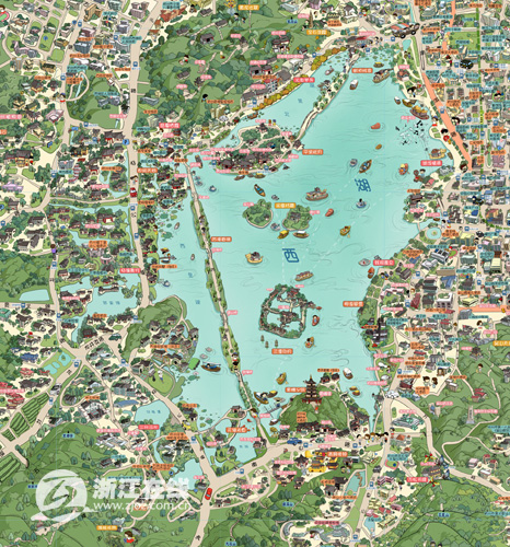"""最忆杭州""""杭州旅游手绘地图"""