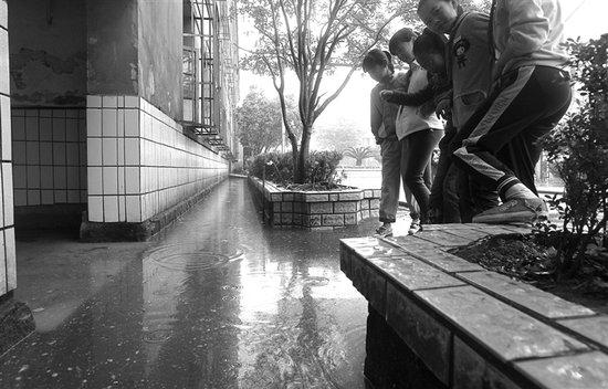 温州某小学积水严重 900师生上厕所先过独木桥