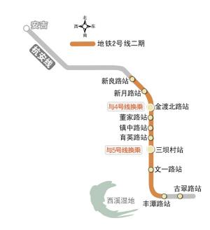 地铁2号线二期起止点:丰潭路站-良渚全长:11.4公里建设时间:力争2013年底