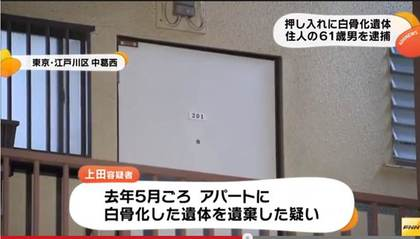 日本东京社工访民宅橱柜内发现人体白骨