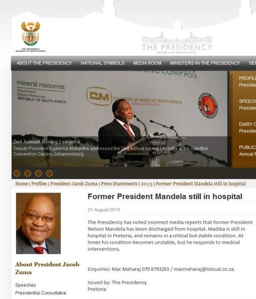 南非官方否认曼德拉出院英媒承认报道有误(图)