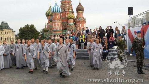 少林寺武僧团在莫斯科红场。