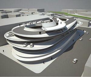 """这是北京一家医院""""斜板式""""停车楼效果图,盘旋而上的车道同时作为停车场,和普通的停车楼相比可提高30%的利用率。"""