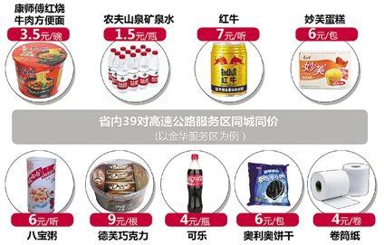 浙江39对高速服务区商品今起全面实行同城同价