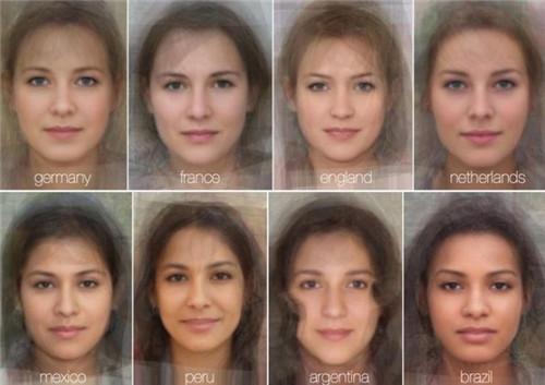 """英国专家收集全球41个国家或地区数千张女士照片,再用计算机程序将每张照片重叠,得出各国""""平均女士""""样貌"""
