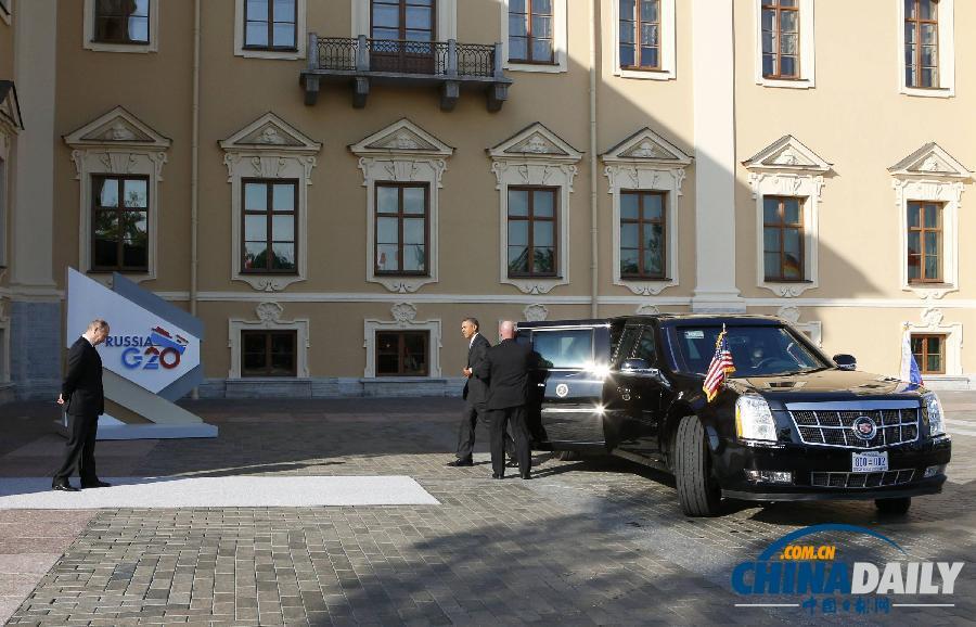 G20峰会:奥巴马与普京握手后转身离开