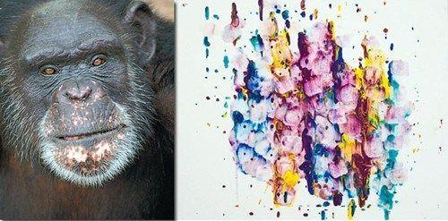 珍·古道尔说,布兰特使用舌头作画,加上将紫罗兰色、蓝色、黄色调配得宜,完成困难度最高,因此珍古德决定将冠军颁给布兰特。美联社图