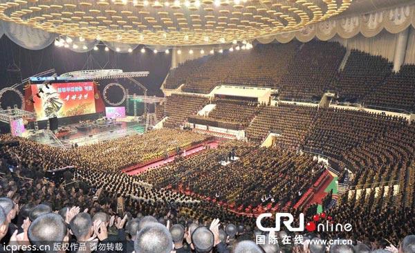 朝鲜领导人金正恩偕夫人观看了牡丹峰乐团演出