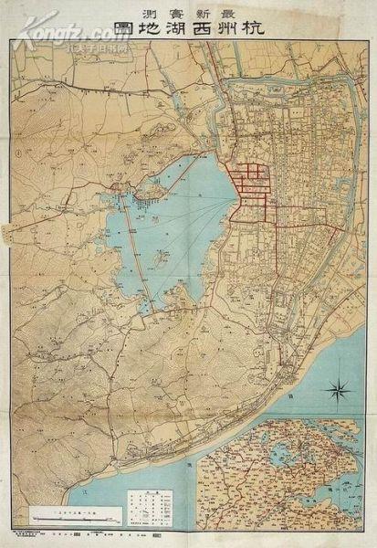 市民收藏1929年实测杭州西湖图 存世量不足20幅