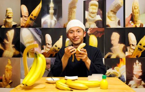 香蕉雕刻师:与时间赛跑成品败品都吃掉(图)