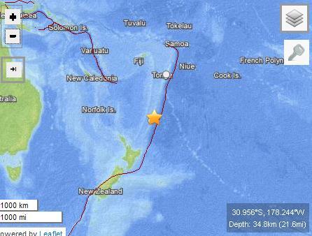 新西兰东北海域发生6.7级地震不会引发大海啸