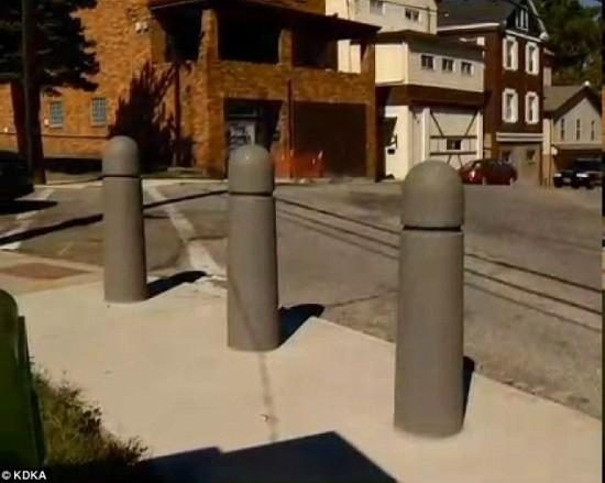 美国费城路边护柱酷似男性生殖器惹市民不满
