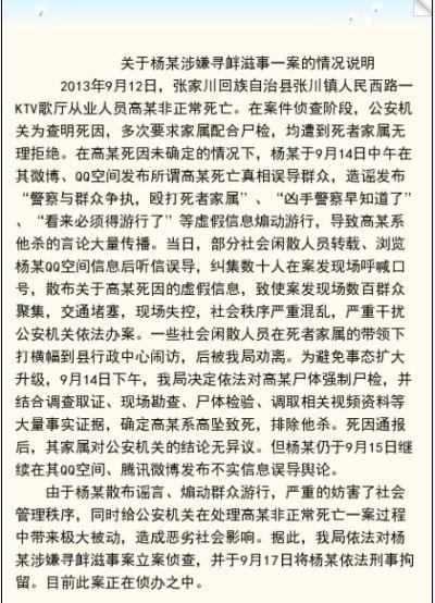 关于杨某涉嫌寻衅滋事一案的情况说明
