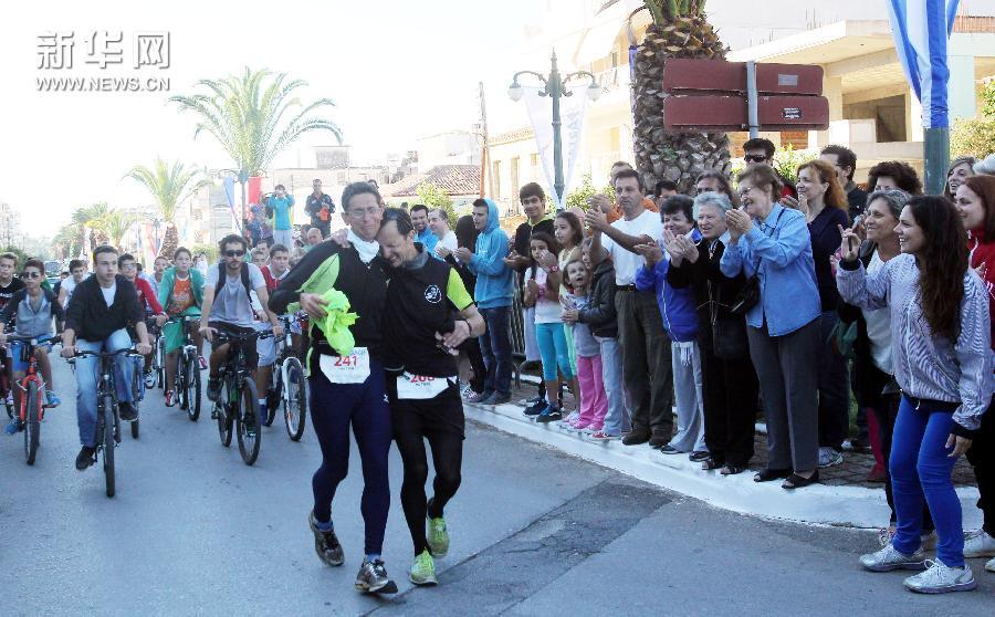 (体育)(4)马拉松——雅典-斯巴达超级马拉松落幕
