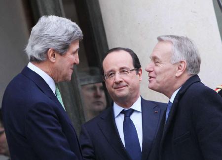克里在巴黎会见阿盟领导人游说叙利亚问题(图)