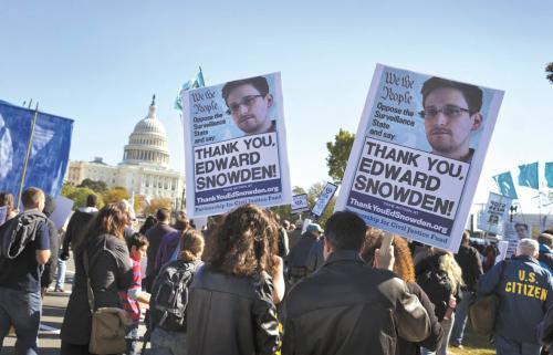 美国数千示威者26日在华盛顿反对大规模监听计划。