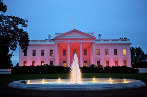 白宫宣传乳癌防治月活动点亮粉红色灯光(组图)