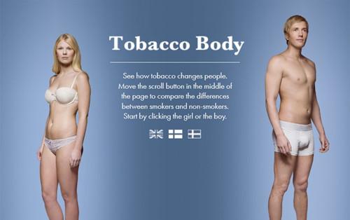 """""""烟草人体""""网站形象地展示了抽烟前后人体各部位的变化。"""