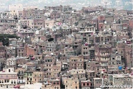 """也门一城市申遗古堡依山而建被称""""绿城""""(图)"""