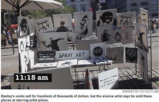 英国涂鸦艺术家班克斯街头贱卖作品乏人问津