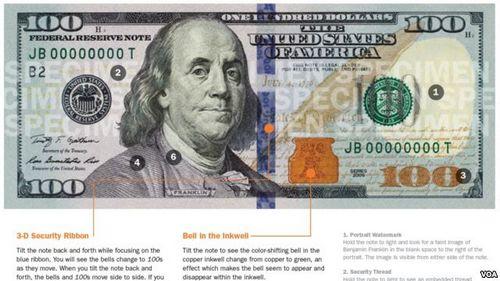 美国8日发行新版百元美钞添加防伪新标记(图)