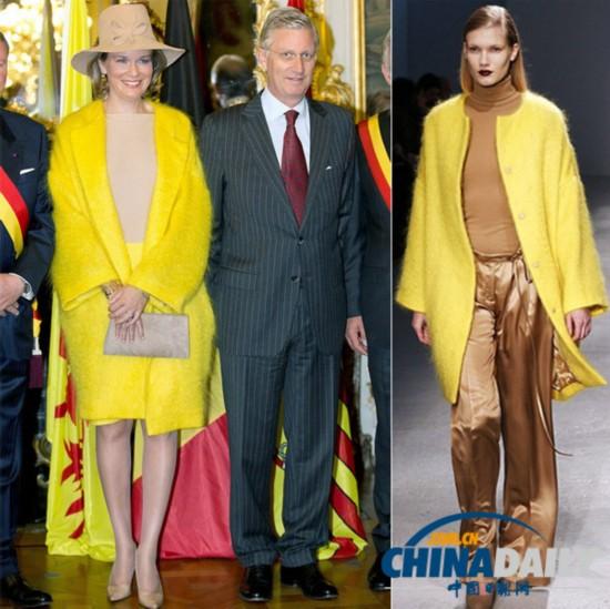 比利时王后支持本土时尚 穿黄色大衣亮相优雅耀目