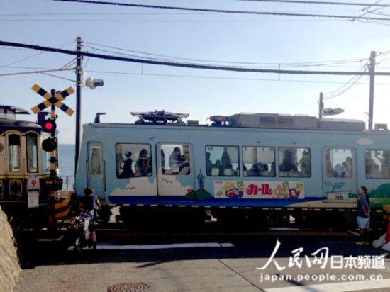 路口断路闸及电车驶过的情景(图片摄于神奈川县镰仓市)