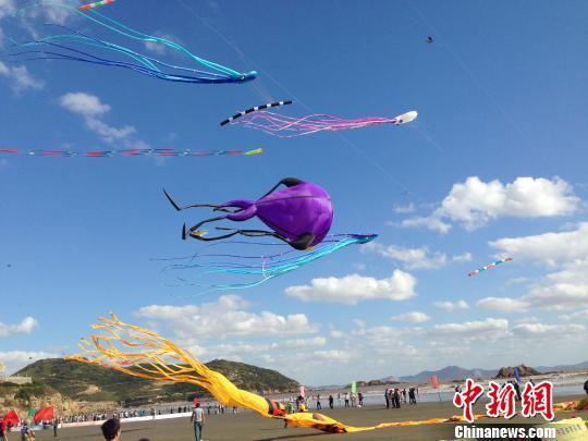 图为:在岱山鹿栏晴沙景区随风起舞的风筝。 王译萱 摄