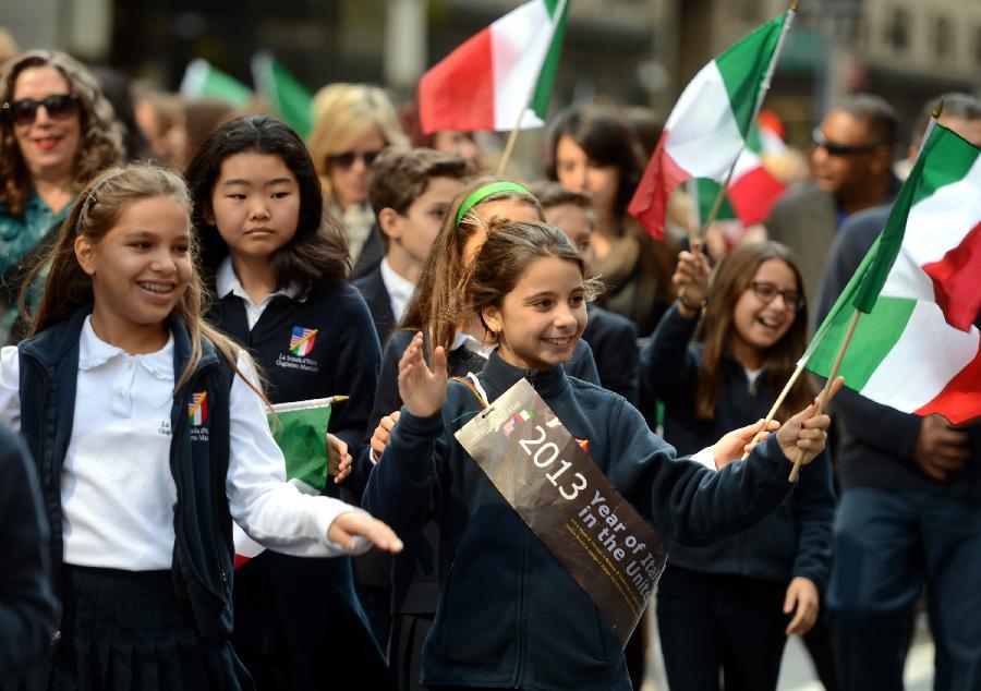 (国际)(4)纽约举行哥伦布日游行