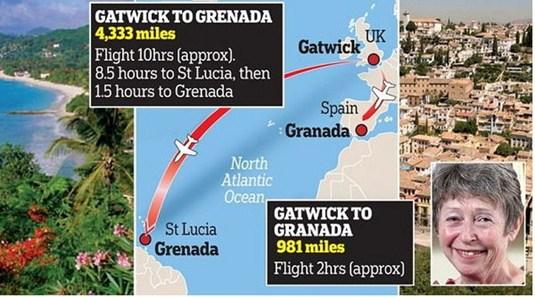 老奶奶订错机票搭错机格拉纳达差一字差5000公里
