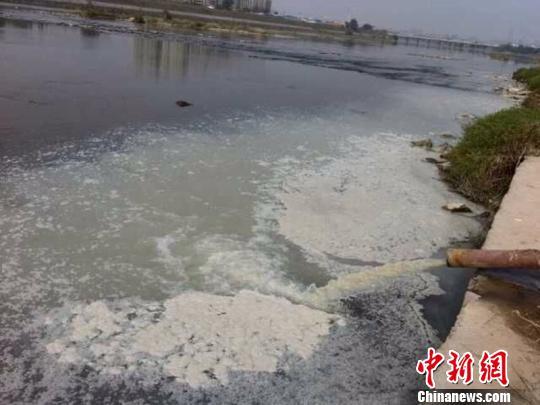 大量的白色污水正在源源不断地从一根管道中排放出来 网友 摄