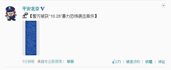 """北京警方破获""""10.28""""暴力恐怖袭击案件"""