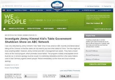 白宫请愿网站截图显示要求调查ABC辱华言论的签名人数已达10万。