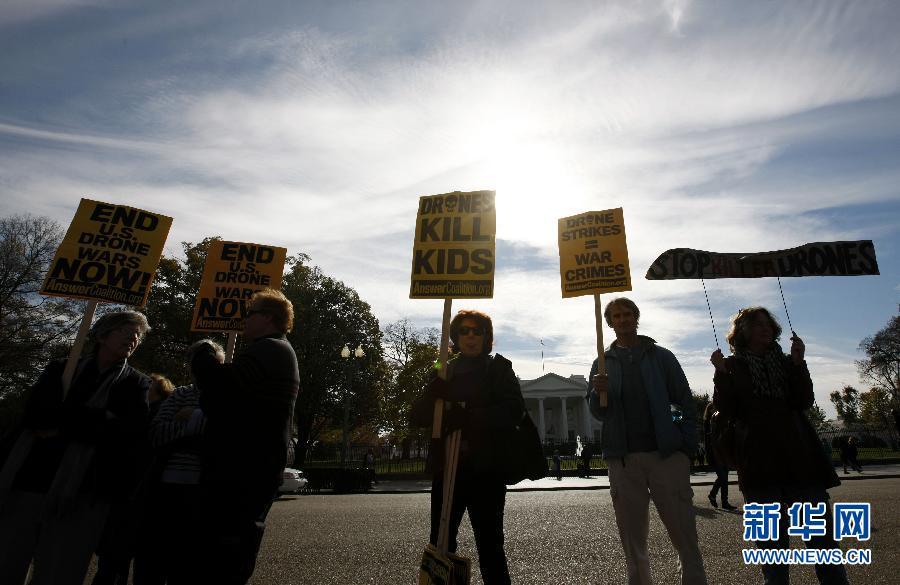 (国际)(3)示威者在白宫前抗议美国使用无人机反恐