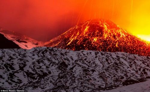 图为正在喷发的火山。