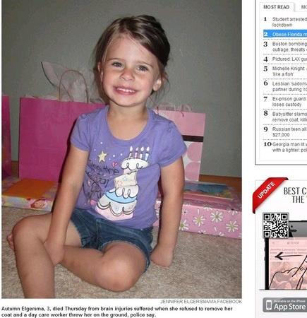 不想脱外套美国3岁女童被托儿所长活活摔死(图)