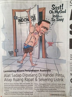 印尼媒体刊登讽刺澳总理漫画描述其为偷窥狂