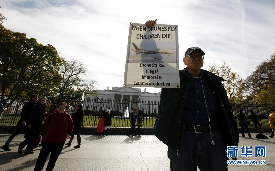 (国际)(5)示威者在白宫前抗议美国使用无人机反恐