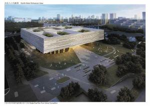 """方案二:  设计灵感来源于宁波""""天一阁""""。""""天一阁""""与水有着特殊的联系,靠近月湖和护城河。其名字中蕴含""""天一生水"""",能保护藏书阁远离火灾。方案设计从开放空间入手,将室外空间融入建筑内部,形成九个不同标高的院落,让阳光、空气有效进入图书馆每个角落。"""