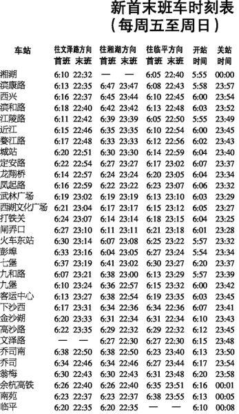 新首末班车时刻表(每周五至周日)