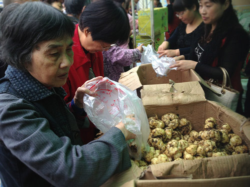 图为:展销会上,一位杭州市民正在采购百合。 肖娜 摄。