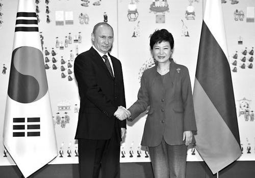 韩国总统朴槿惠与俄总统普京会晤。