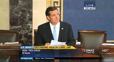 """美国国会盛产""""长舌男"""":议员21小时不间断演讲"""