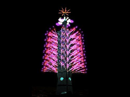 """台北101大楼公布跨年烟火秀的模拟动画。取自台湾""""中央社""""/台北101供图"""