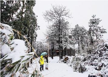 12月16日下午,杭州迎来今冬第一场雪,给交通出行带来困扰。 本报记者 吴煌 实习生 陆伟 摄