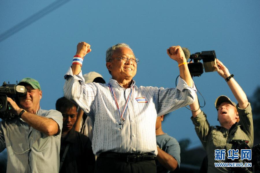 (国际)(4)素贴号召泰国反政府示威者继续集会
