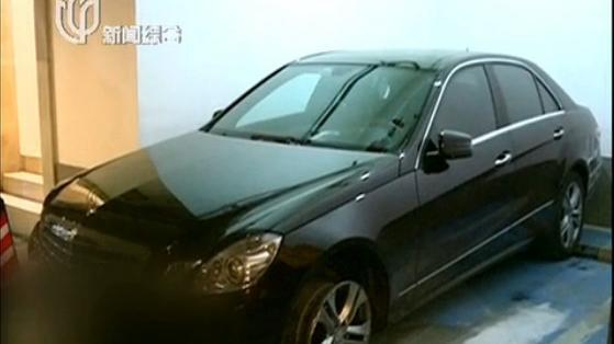 图说:受害人孙女士的奔驰车。来源:上视新闻截图