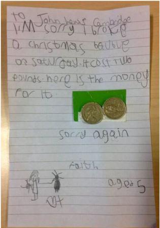 5岁女童打破饰品道歉信黏2英镑天真反应惹人爱