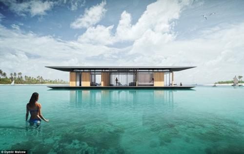 """新加坡一名建筑师设计了一款漂流屋,可让人享受""""人在水中央""""的恬静。"""