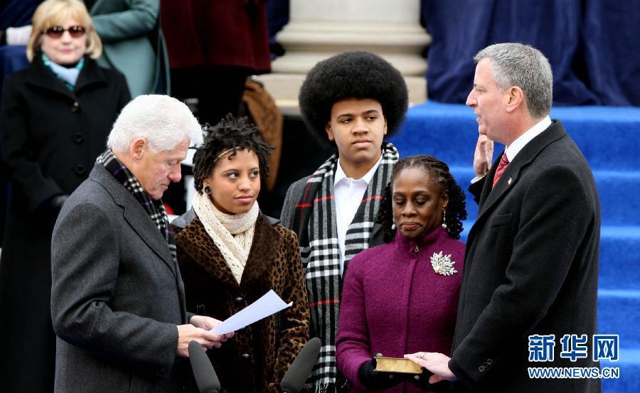 (国际)(2)纽约新市长宣誓就职